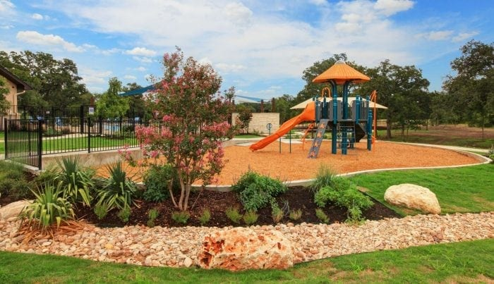 The amenity center at MorningStar features a play equipment for kids