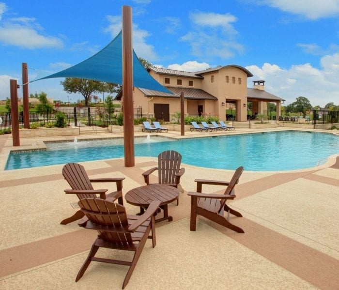 Sit and relax by the pool at MorningStar Community in Liberty Hill, TX