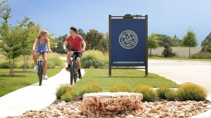 MorningStar Community features an extensive trail system for riding a bike or taking a walk