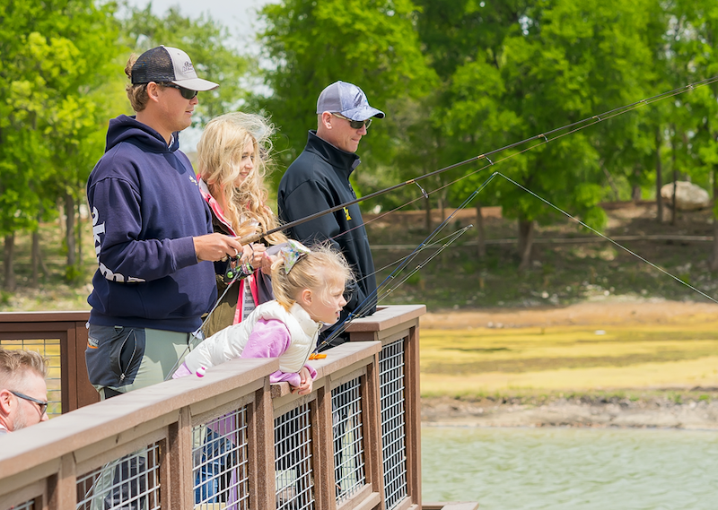 Young Family Fishing at MorningStar Pond, Georgetown, TX